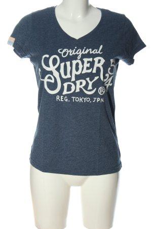 SUPER DRY T-Shirt blau-weiß Schriftzug gedruckt Casual-Look