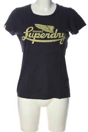 SUPER DRY T-Shirt blau-blassgelb Schriftzug gedruckt Casual-Look