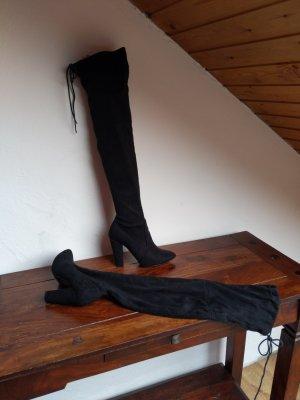 super elegante overknees Größe 37 schwarz  Look zierlich zum schnüren Absatz 9,5 cm Größe 37