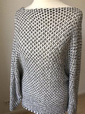 Zara Knit Szydełkowany sweter biały-czarny