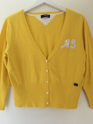 Ambiente Short Sleeve Knitted Jacket yellow cotton