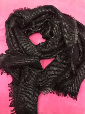 0039 Italy Summer Scarf black-silver-colored cotton