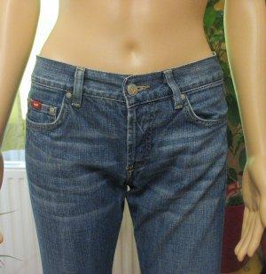 Gas Jeans taille basse bleu acier-bleuet coton
