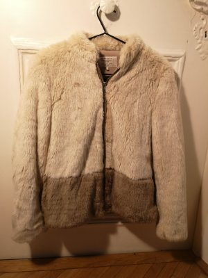 Zara Fake Fur Jacket cream-beige