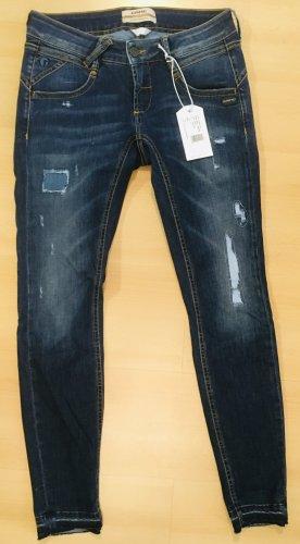 Gang Jeans slim fit blu scuro-bianco Cotone