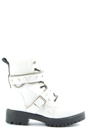 Super Me Sznurowane botki biały W stylu casual