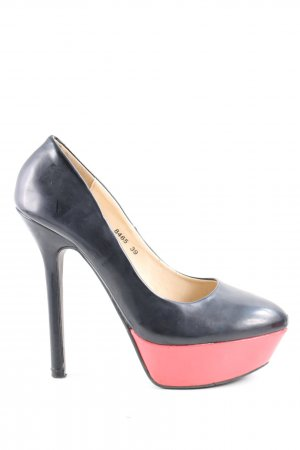 Super Mode High Heel Sandaletten schwarz-pink extravaganter Stil
