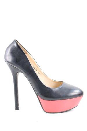 Super Mode High Heel Sandaletten schwarz-pink extravaganter Stil
