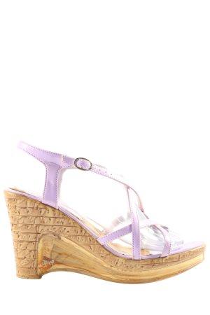 Super Mode Plateau-Sandaletten creme-lila Casual-Look
