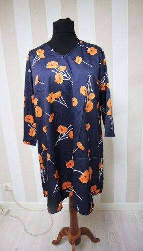 Camisa tipo túnica azul oscuro-naranja