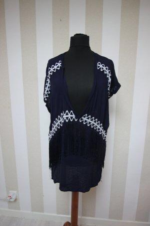 Camisa tipo túnica blanco-azul oscuro