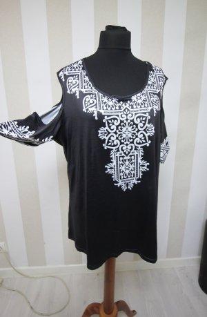 Camisa tipo túnica blanco-negro