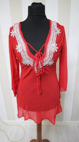 Camisa tipo túnica color plata-rojo