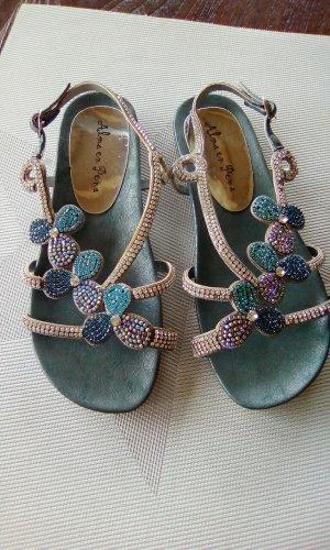 Alma en Pena Sandalias de tacón de tiras azul aciano