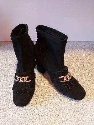 Wciągane buty za kostkę czarny-złoto