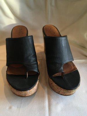 Sixtyseven Sandalias de tacón con plataforma negro-marrón Cuero