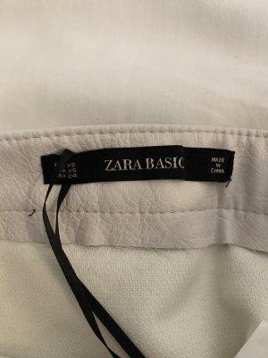 Zara Skórzana spódnica kremowy-biały