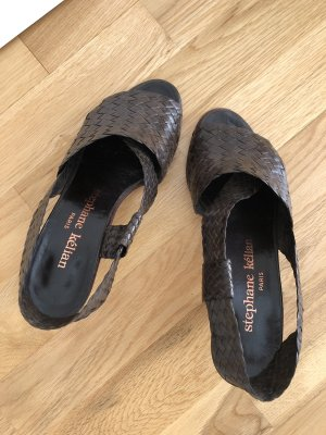 Super schöne geflochtene Echtleder-Sandalette, Stephane Kelian Paris