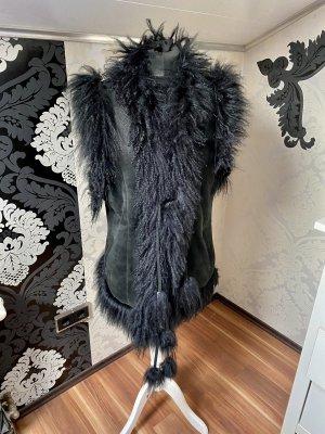 Unikat Einzelstück Gilet en cuir noir cuir