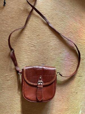 Super schöne kleine Vintage Leder Umhängetasche Tasche braun