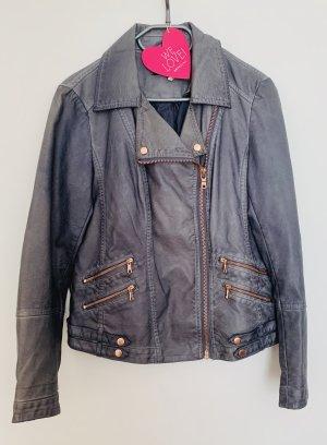 Super schöne Lederjacke Bikerstyle Jacke Blau Roségold + Ersatzknöpfe Größe 38 M tailliert Zustand sehr gut Tchibo