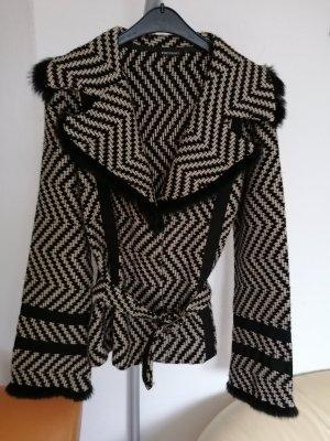 Monari Veste en laine noir-chameau tissu mixte
