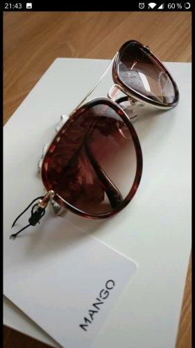 Super schöne Piloten-Sonnenbrille, Mango,Neu,Gold,Braun