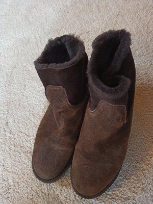 shabbies Futrzane buty ciemnobrązowy