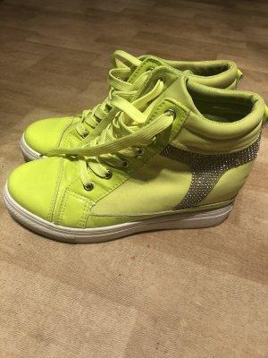 Super schöne  Sneakers Keilabsatz in neon grün Glitzer Gr. 39.