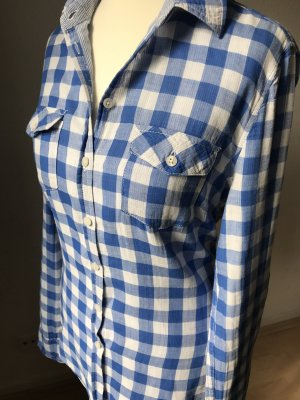 H&M L.O.G.G. Geruite blouse wit-staalblauw