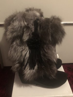 0039 Italy Fur Boots silver-colored-black
