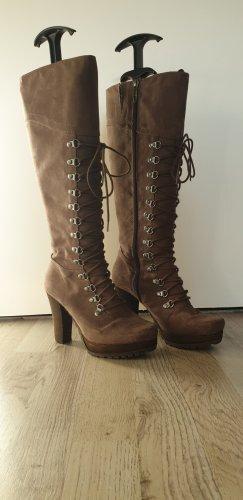 Tamaris Bottes à lacets gris brun-gris vert