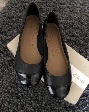 Clarks Patent Leather Ballerinas black leather