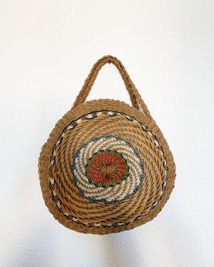 Vintage Bolso tipo cesta marrón claro-rojo
