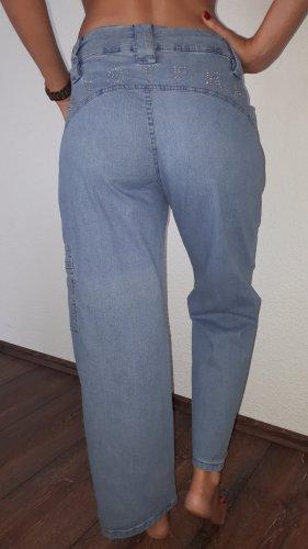Vintage Vaquero holgados azul celeste-color plata