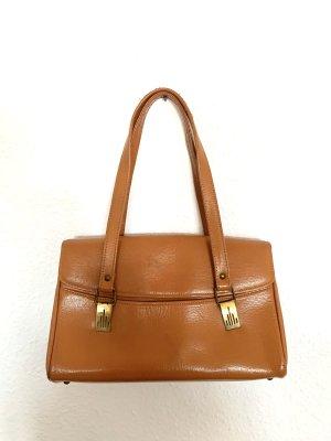 Super schöne Vintagetasche Henkeltasche in hellbraun mit goldenen Schnallen