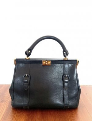 Super schöne Vintagetasche/ Henkeltasche in schwarz- mit goldenen Details