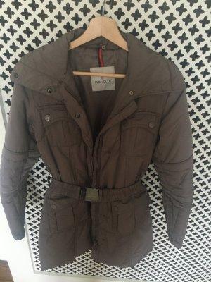 Moncler Manteau en duvet marron clair-gris brun tissu mixte