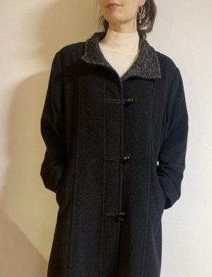 Vintage Wollen jas donkergrijs