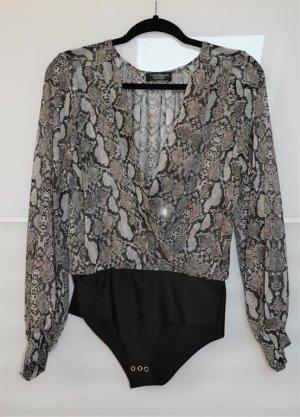 Zara Bodyblouse zwart-lichtgrijs