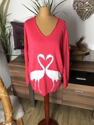 Apart V-Neck Sweater pink-white