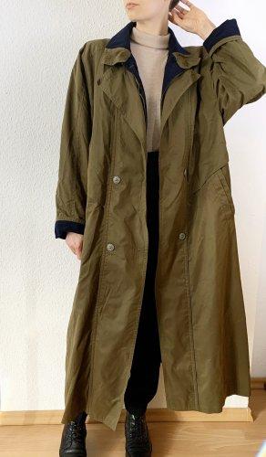 Vintage Cappotto lungo fino a terra verde scuro-blu scuro