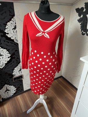Super Schönes Blutsgeschwister Midi Kleid  Langarm Kleid Winterkleid rot weiß gepunktet Gr S