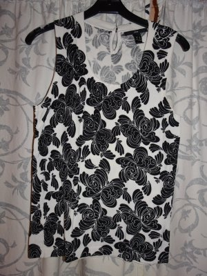 H&M Knitted Top white-black viscose
