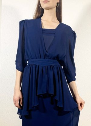 Vintage Peplum Dress dark blue