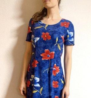 Super schönes Vintagekleid in blau/ rot mit Blumen aus Viskose