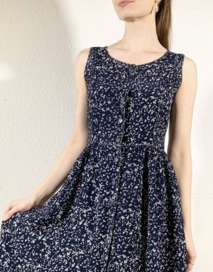 Vintage Midi Dress white-dark blue