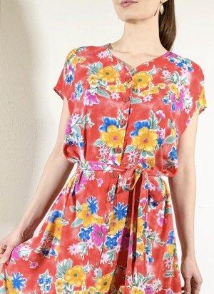 Super schönes Vintagekleid mit Blumenmuster und Bindeguertel aus Viskose