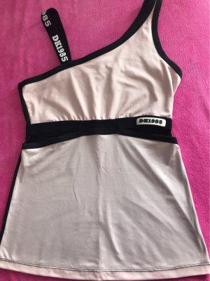0039 Italy Camicia monospalla nero-rosa pallido
