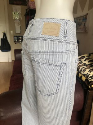 Pantalone a zampa d'elefante bianco-azzurro
